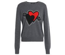 Embellished intarsia merino wool sweater