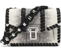 Whipstitch-trimmed lizard-effect leather shoulder bag