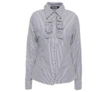 Ruffle-trimmed Striped Cotton-poplin Shirt Navy