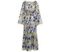 Floral-print Cotton Maxi Dress Blue Size 1
