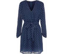 Flavia Tie-front Polka-dot Chiffon Mini Dress Indigo