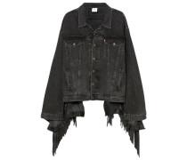 Oversized Distressed Fringed Denim Jacket Charcoal