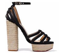 Woman Eyelet-embellished Canvas Espadrille Platform Sandals Black