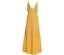 Wrap-effect metallic crochet-knit maxi dress