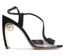 Woman Galaxy Faux Pearl-embellished Lamé And Pvc Sandals Black