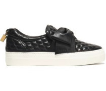 Bow-embellished quilted leather slip-on sneakers