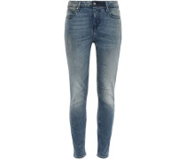 Distressed Faded High-rise Skinny Jeans Mid Denim  5