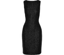 Faux Leather-appliquéd Sequined Lace Dress Black