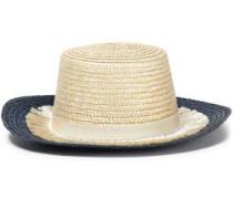 Stevie Grosgrain-trimmed Fringed Woven Straw Sunhat Ivory Size ONESIZE