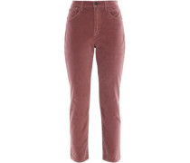 W3 Higher Ground Cropped Stretch-cotton Velvet Slim-leg Pants Antique Rose  4