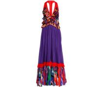 Paneled printed cotton maxi dress