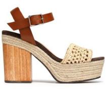 Mia leather and raffia platform sandals