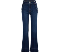 The Maritime Button-detailed High-rise Flared Jeans Mid Denim  5