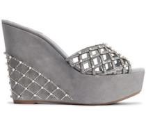 Embellished Laser-cut Suede Wedge Sandals Light Gray