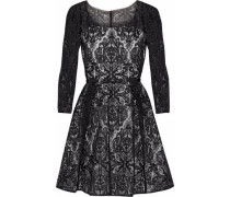 Embroidered tulle flared mini dress