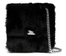Textured-leather and faux fur shoulder bag