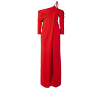 Woman One-shoulder Draped Stretch-cady Top Red