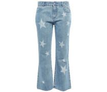Woman Printed Mid-rise Kick-flare Pants Mid Denim
