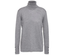 Woman Cashmere And Silk-blend Turtleneck Sweater Dark Gray