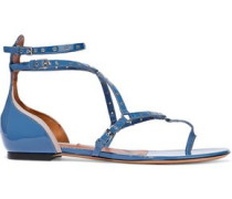 Woman Love Latch Eyelet-embellished Patent-leather Sandals Blue