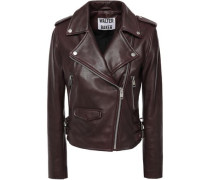 Leather Biker Jacket Burgundy