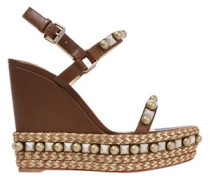 Cataconico 120 Embellished Leather Wedge Sandals Brown