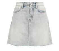 Frayed Faded Denim Mini Skirt Light Denim  3