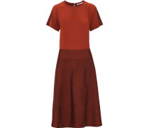 Silk Crepe De Chine And Knitted Midi Dress Brick