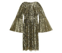 Metallic layered flared lace dress