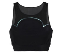 Quantum Mesh-paneled Stretch Sports Bra Black
