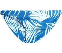 Low-rise Two-tone Printed Stretch-knit Bikini Briefs Blue