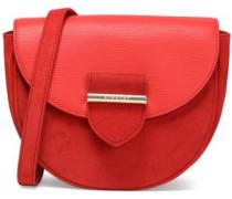 Leather-paneled suede shoulder bag