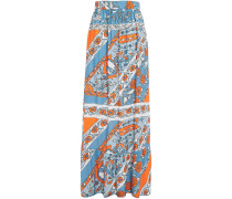 Gathered Floral-jacquard Maxi Skirt