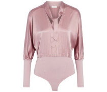 Pussy-bow silk-blend satin and ponte bodysuit