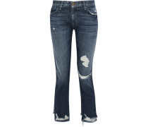 Distressed Mid-rise Straight-leg Jeans Mid Denim  6