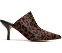 Leopard-print Calf Hair Mules Animal Print