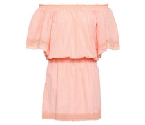 Off-the-shoulder Embroidered Gauze Coverup Pastel Orange