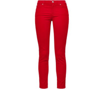 Cropped Mid-rise Skinny Jeans Red  4