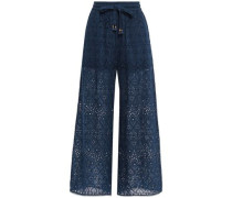 Woman Cropped Broderie Anglaise Cotton And Silk-blend Wide-leg Pants Navy