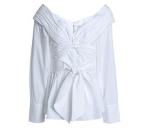 Jandra Off-the-shoulder Tie-front Cotton-poplin Blouse White Size 0
