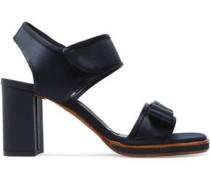 Bow-embellished Satin Sandals Midnight Blue