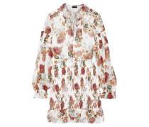 Shirred Floral-print Silk-chiffon Mini Dress