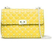 Studded Quilted Leather Shoulder Bag Bright Yellow Size --