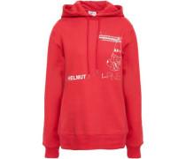 Printed Cotton-blend Hooded Sweatshirt Red