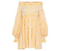 Kora Off-the-shoulder Striped Cotton Mini Dress Yellow