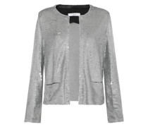 Frayed sequined jersey jacket
