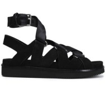 Natalie Suede And Canvas Sandals Black