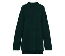 Paprika Oversized Brushed Ribbed-knit Sweater Emerald