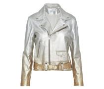 Metallic dégradé leather biker jacket
