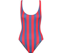 The Anne-marie Striped Swimsuit Red